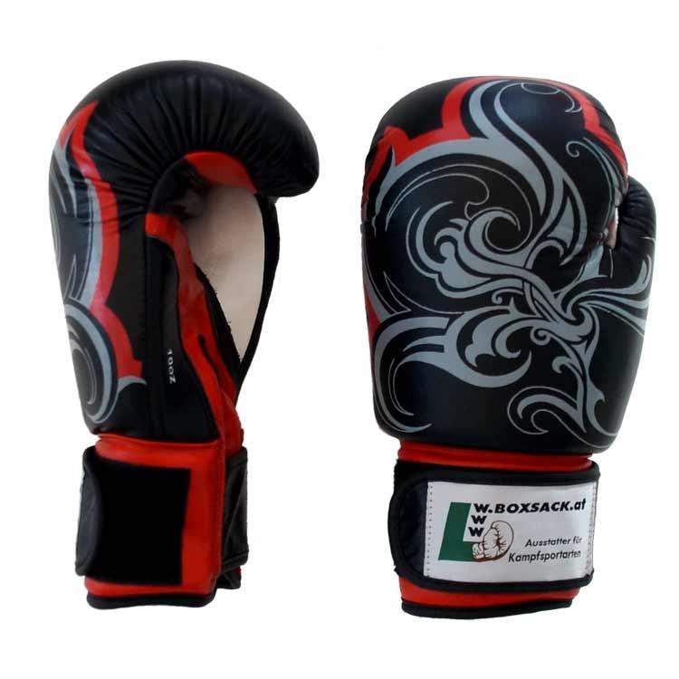 Boxhandschuhe Thai Style Schwarz widerstandsfähiges Rindsleder Typ a