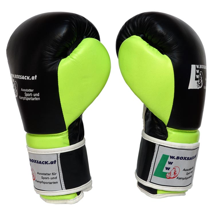 Boxhandschuhe FORCE NEON GREEN aus strapazierfähigem Rindsleder mit Mesh Bild a