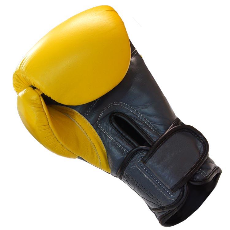 Boxhandschuhe SNAKE aus Rindsleder Farbe Gelb Grau Bild c