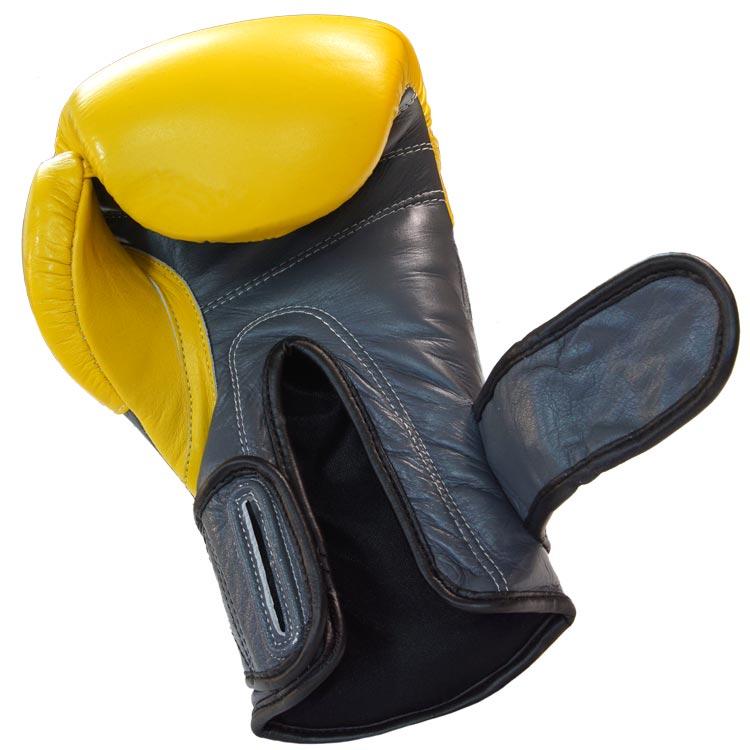 Boxhandschuhe SNAKE aus Rindsleder Farbe Gelb Grau Bild e