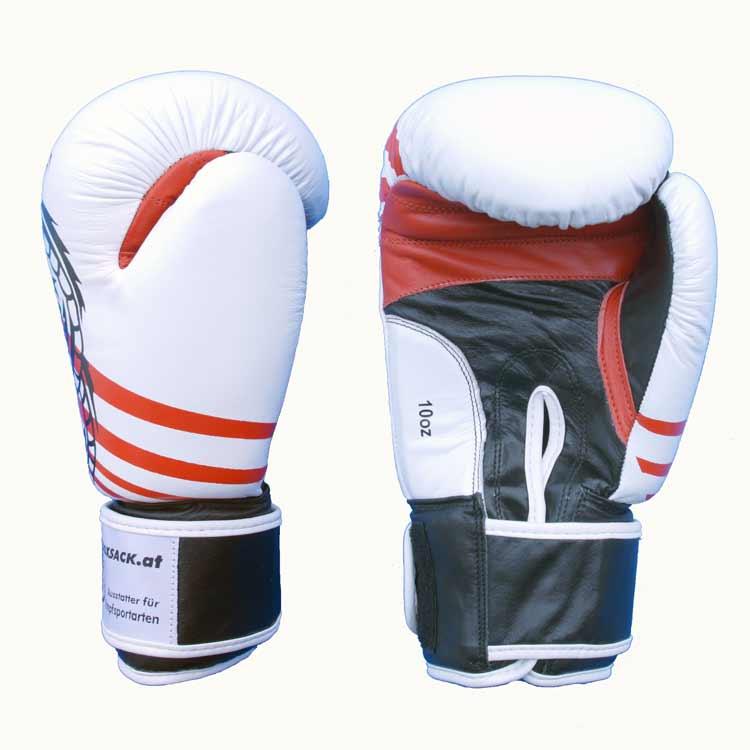 Boxhandschuhe Thai Style Schwarz Weiss widerstandsfähiges Rindsleder Typ a