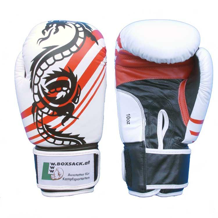 Boxhandschuhe Thai Style Schwarz Weiss widerstandsfähiges Rindsleder Typ c