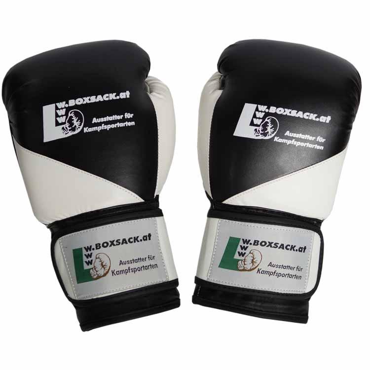 Boxhandschuhe BLACK & WHITE aus strapazierfähigem Kunstleder Bild a