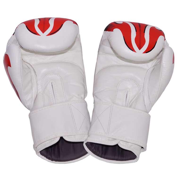 Boxhandschuhe FANTASY aus strapazierfähigem Rindsleder Farbe Weiss Rot Bild b