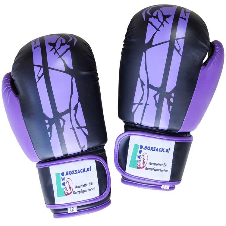 Boxhandschuhe Viper BLACK PURPEL aus widerstandsfähigem Kunstleder a