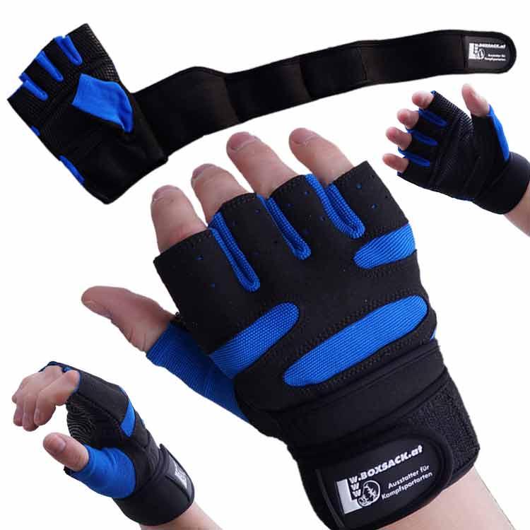 Gewichtherberhandschuhe Fitnesshandschuhe Leder Schwarz Blau Typ d