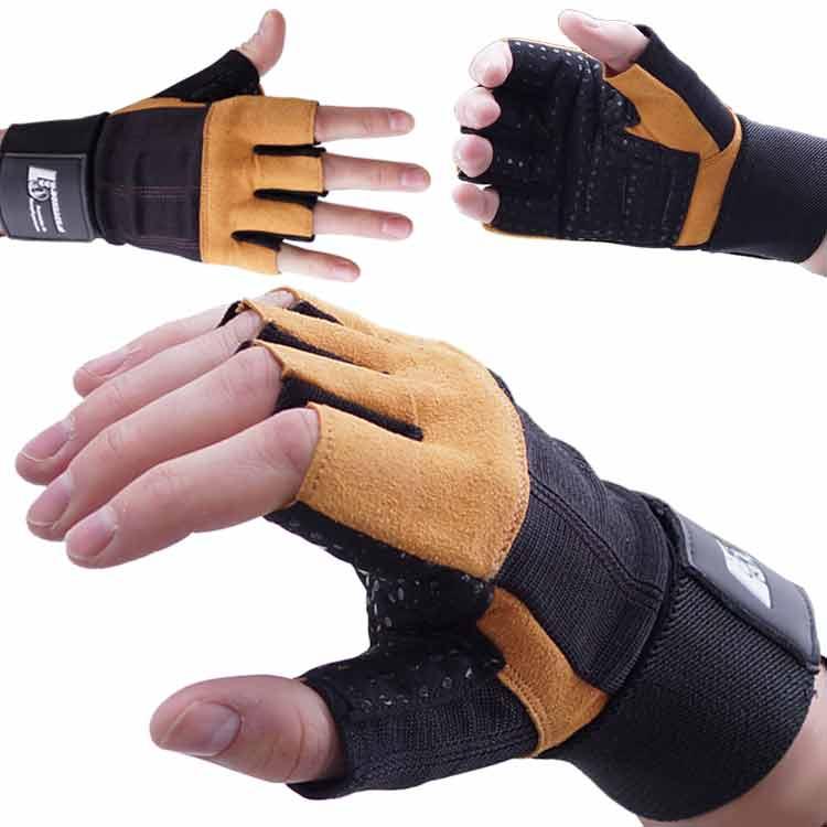 Gewichtherberhandschuhe Fitnesshandschuhe Leder Schwarz Braun Typ c
