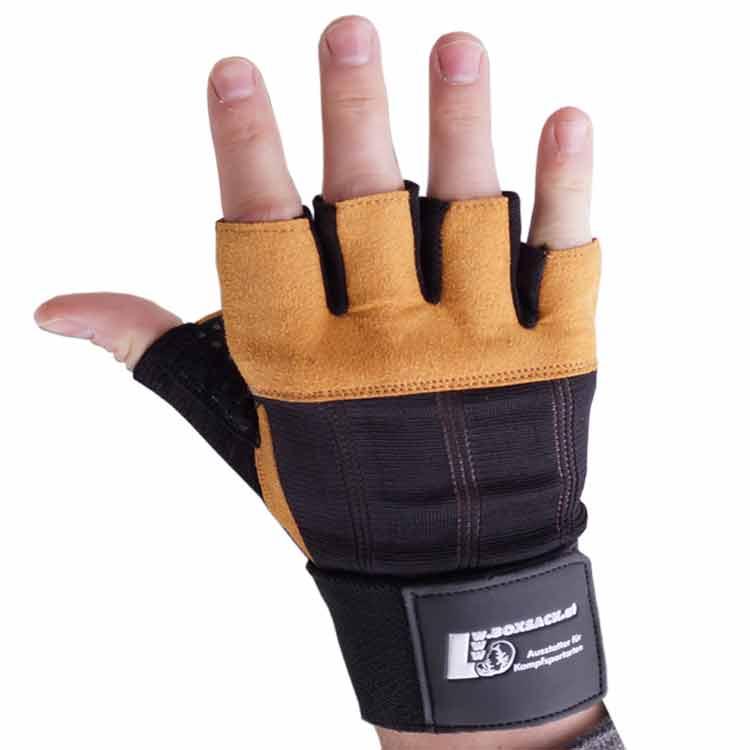 Gewichtherberhandschuhe Fitnesshandschuhe Leder Schwarz Braun Typ d