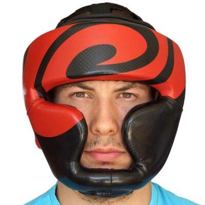 Kopfschutz Kunstleder Schwarz Rot mit Kinn und Ohrenschutz c