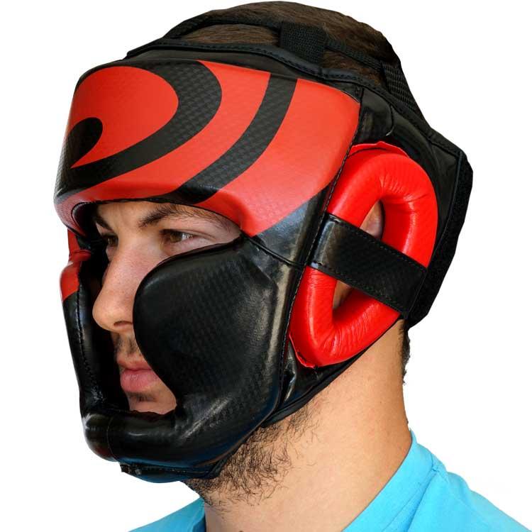 Kopfschutz Kunstleder Schwarz Rot mit Kinn und Ohrenschutz b