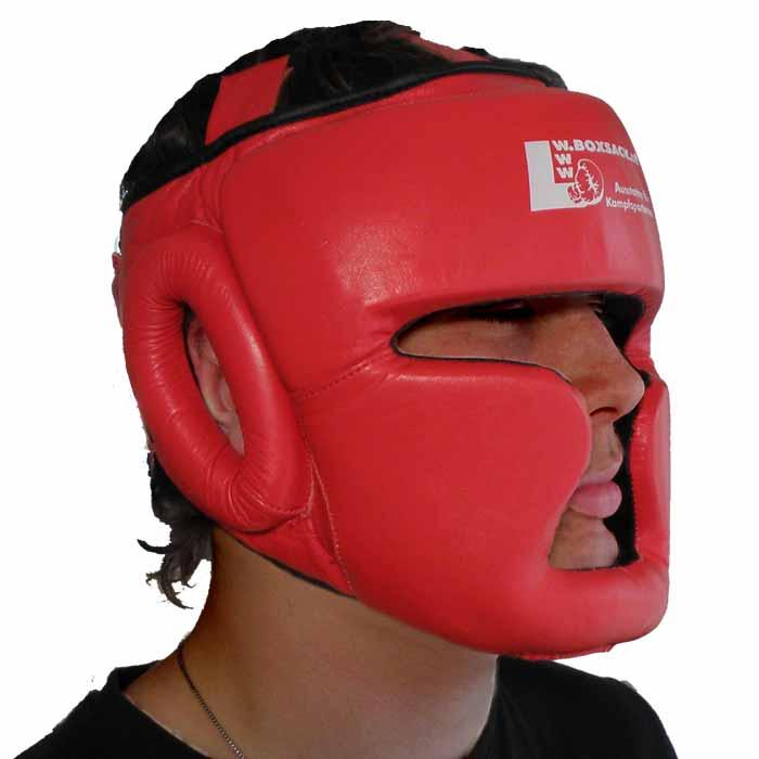 Kopfschutz aus Rindsleder in der Farbe Rot