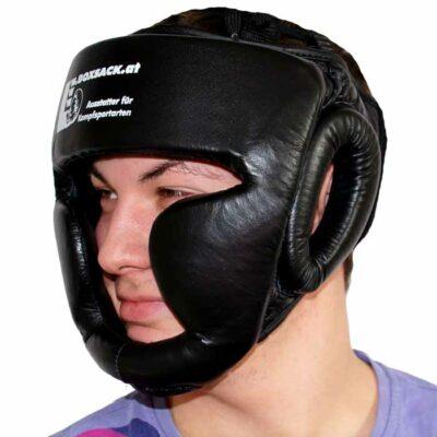 Kopfschutz aus Rinderleder Farbe Schwarz mit Kinn und Ohrenschutz