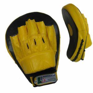 Pratzen Handpratzen gebogen aus Leder in der Farbe Gelb Schwarz Typ a