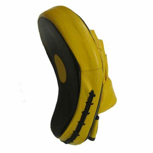 Pratzen Handpratzen gebogen aus Leder in der Farbe Gelb Schwarz