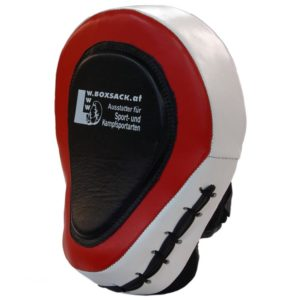 Pratze Handpratze Trainer gebogen aus Rindsleder mit Geleinlage Schwarz Rot Typ e
