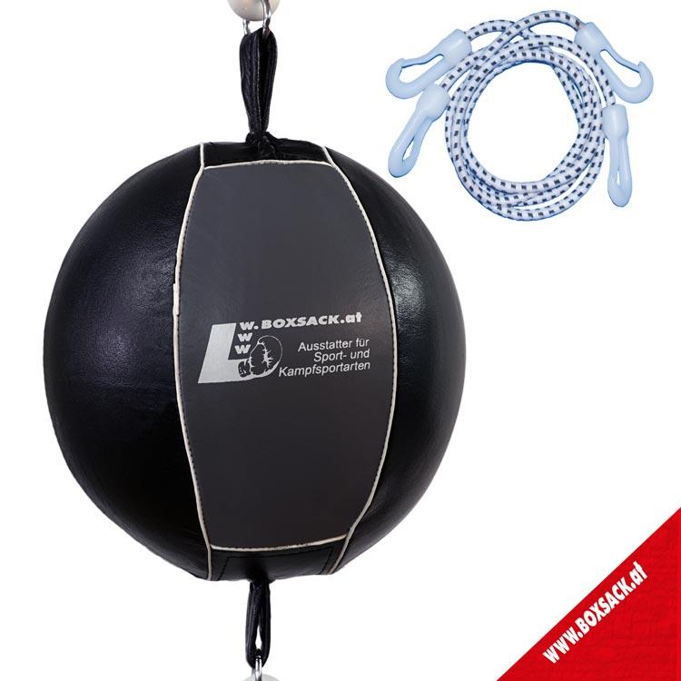 Doppelendball Leder Grau Schwarz mit Expander Abspannung Bild a