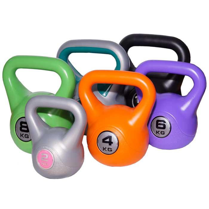 Kettlebell aus Kunststoff mit Betonfüllen verschiedene Gewichte