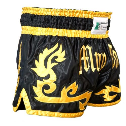 Muay Thai Short Panda Farbe Schwarz Gold Typ B