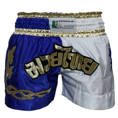 Muay Thai Short Runner Farbe Blau Weiss Gold Typ A