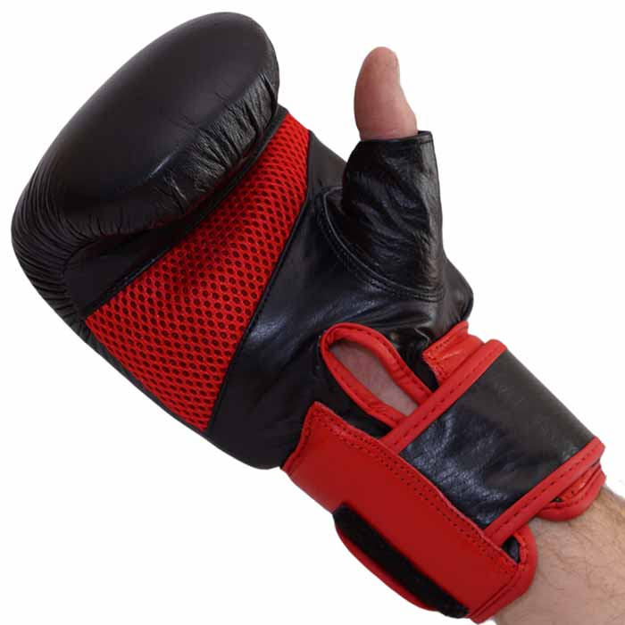 Sandsackhandschuhe PRO KICK aus Rindsleder Leder Rot Schwarz Typ c