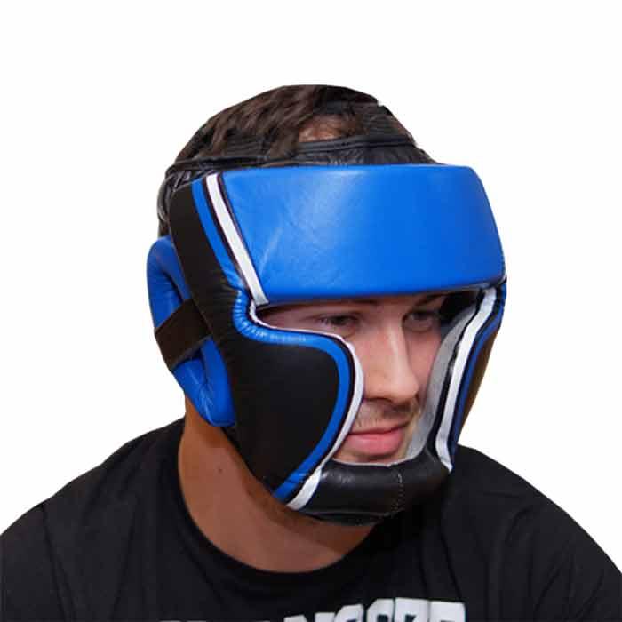 Kopfschutz Leder Blau Schwarz - b