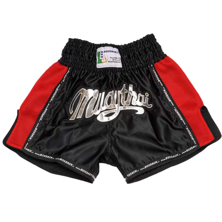 Muay Thai Short Mesh Style Black & Red Typ B