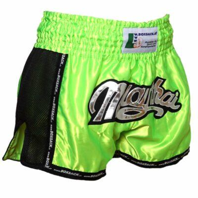 Muay Thai Short NEON GREEN Mesh Style Bild a