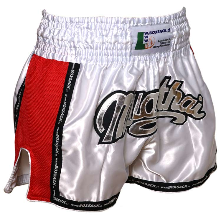 Muay Thai Short Mesh Style Silver Bild a